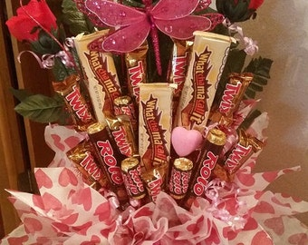 Happy Birthday Candy Bouquet Chocolate and Caramels Birthday Bouquet Arrangement