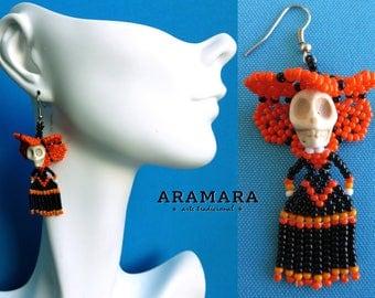 Catrina Earrings, Day of the dead earrings, Mexican earrings, Huichol earrings, Dia de muertos , Skull earrings, Mexican Skull, Folk art 013