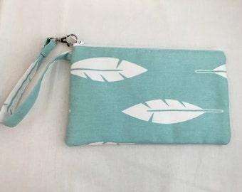 Feather Padded, Zipper Wristlet Purse, Bridesmaids Bag, Clutch Purse, Child's Purse, Wristlet Gadget Bag - Choose Color