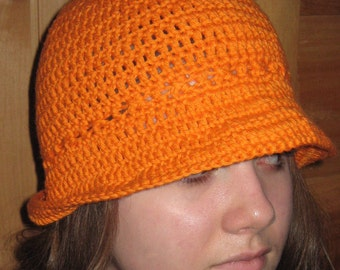 Rolled Brim Soft Chemo Hat / Light  all-weather hat / Soft crocheted Ladies Hat / Kemo Cap / Cancer hat / Beach Hat