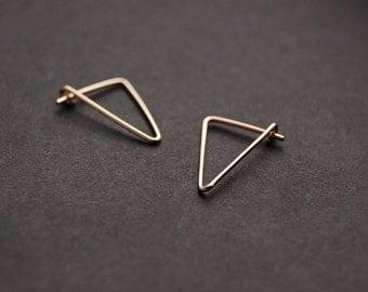 Triangle Hoop Earrings - gold triangle hoop earrings, silver hoop earrings, minimal earrings, minimalist earrings, geometric hoop earrings