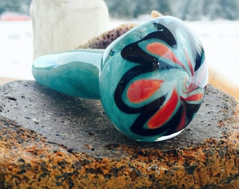 Mountain Flower Turquoise Black And Persimmon Glass Pipe