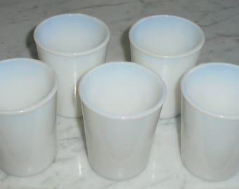 RARE Set of 5 Vintage Opaline Moonstone Child Juice Glass Tumblers 3.5 x 3 inch