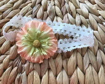 Lace Shabby Chic Peach and Yellow Floral Headband