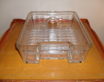 Vintage Refrigerator Glass Meats Tray