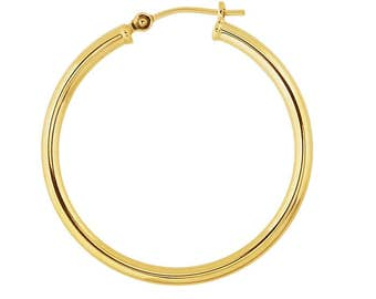 14k Yellow Gold Hoops - 2mm Gold Tubular Hoops - Self-locking - Ear Hoop Post Hinge and Catch - Continuous Endless Design Hoop