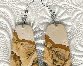 Earrings - African Queen Picture Jasper, Sterling Silver Statement Gemstone Bold OOAK Unique