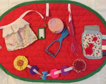 Fidget Quilt Busy Blanket Baking Themed Alzheimer's Dementia Montessori Sensory Tactile Activity Restless Hands Calming Fidgety Mat