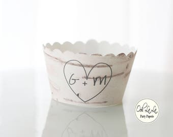 "MADE TO ORDER ""Carved"" Initials in a Birch Tree  Cupcake Wrappers in White or Natural Birch Tree Style Set of 12"