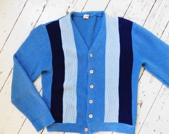 1950-60's, Cardigan, by David Allen, Vertical Stripes, Cableknit, Blue Sweater, Rockabilly