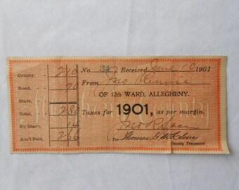 1901 Tax Receipt Allegheny Pennsylvania