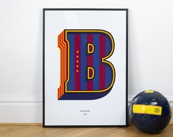 B is for Barcelona, Football Typography Print
