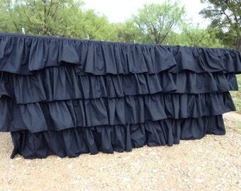 Ruffled Black Cotton Tablecloth