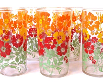 Set of 6 Mid Century Water Tumblers or Glasses, Red, Orange, Yellow, Green, Floral