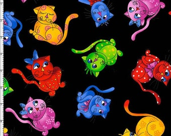 Multi Coloured Cool Cats On Black Background,100% Cotton Fabric