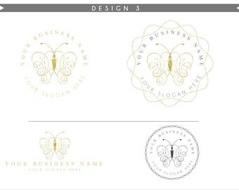 Gold Logo Design Branding Package Inc. Photography Logo Watermark - Gold glitter luxury butterfly Pink Script Watercolor Logo- Logo 6