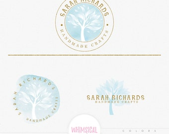 Fire Tree Professional WATERCOLOR- Premade Photography Logo and Watermark, Classic Elegant Script Font GOLD GLITTER Calligraphy Logo