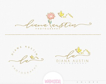Whimsical flower butterfly- premade Photography Logo and Watermark, Classic Elegant Script Font GOLD GLITTER butterfly children Calligraphy