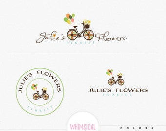 whimsical bike cute logo - Premade Photography Logo and Watermark,  retro Elegant Script Font cute florist handmade flowers Calligraphy Logo