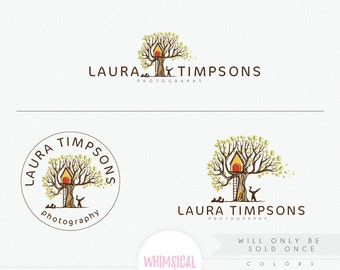 OOAK Whimscial tree house 1 Premade Photography Logo and Watermark, Elegant Font TREE children Calligraphy Logo colorful exclusive logo