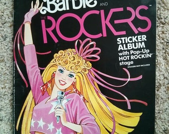 1980s 80s vintage barbie and the rockers sticker album with pop up hot rockin