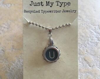 Vintage Typewriter Key Necklace - U