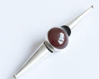 100 mm long Vintage Bali Sterling Silver Brooch with Carnelian semi precious stones - UK FREE SHIIPPING