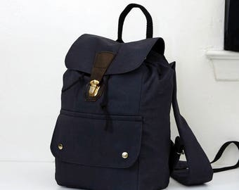 Dark Grey Backpack with Brass Findings