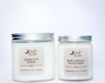 Clean Minimalist Candle - Summer Bamboo, Fresh Cut Roses, Rosemary + Mint, Bergamot + Mandarin- 8 oz. Natural Soy Candle