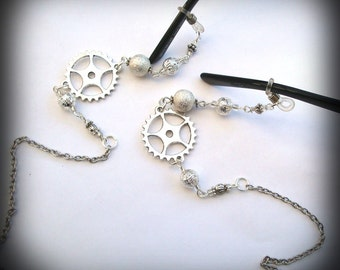 Steampunk glasses chain vintage style silver cogs sunglasses spectacles
