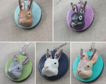Jackalope Pendant - Polymer Clay