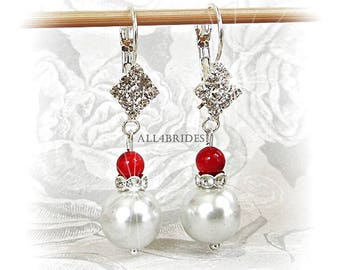 White and red glass pearl earrings, wedding bidal or bridesmaid jewelry