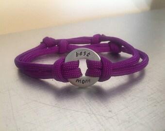 MOM Bracelet - Personalized One Washer Double Strap Paracord Bracelet