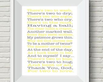 Twins wall art, twins gift idea, yellow grey nursery, nursery wall art, mother of twins prayer, baby boy nursery, baby shower gift