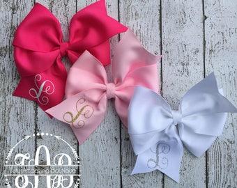 """Set of Three 5"""" Pinwheel Hair Bows with Initials"""