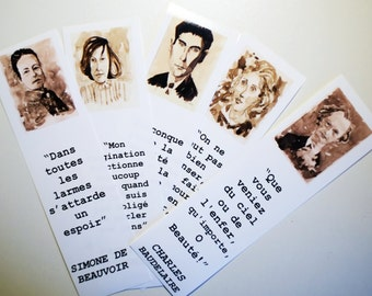 Five authors bookmarks set Virginia Woolf Kafka Patricia Highsmith Simone de Beauvoir Charles Baudelaire SEPIA PICS in FRENCH français