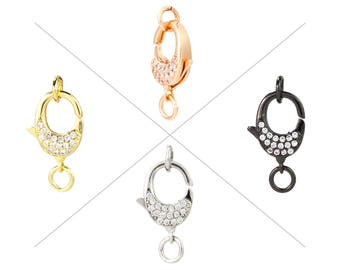 Clear CZ Pave Lobster Clasps, Pave Claw Clasp, Cubic Zircon Micro Pave on Both Sides, 13x11mm, Pkg of 1 Piece, CB15O