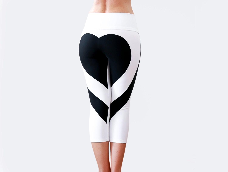 Heart Shape Pants Sexy Leggings White Yoga Pants Heart by ...