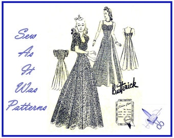 "1930s Butterick 1150 Princess Seam Ruched Bodice Flared Evening Dress Gown Straps Bolero Jacket Vintage Sewing Pattern Size 14 Bust 32"" 83cm"