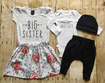 Girls big sis outfit, big sister shirt, little brother shirt, sibling shirts, pregnancy announcement shirt, baby announcement shir