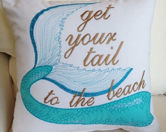 Mermaid Pillow, Mermaid Tail Pillow, Nautical Pillow, Aqua Pillow, Beach Pillow, Mermaid, Mermaid gift