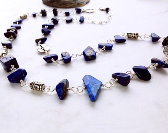 Blue Lapis Necklace, Lapis Lazuli and pewter bead necklace, denim blue bead necklace, blue stone jewelry, long blue and silver bead necklace