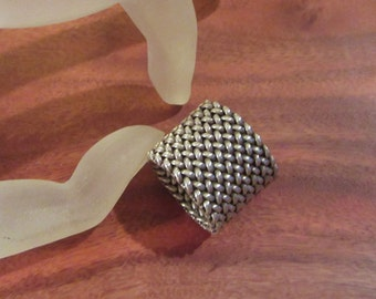 Modernist Minimal Sterling Silver Woven Ring Women 7.5 Heavy Textural Excellent