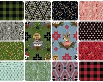 Tula Pink Fabric Holiday Homies Christmas Dog Goose Reindeer - Complete Collection - Limited Edition 100 % Cotton -14 pc FQ Bundle Yardage