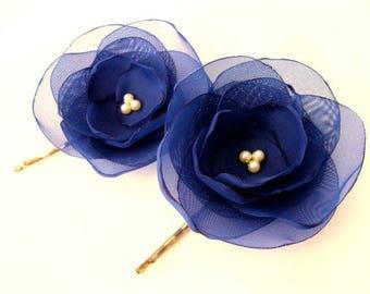 Navy Blue Hair Pins, wedding hair accessories, bridal hair clips, flower bobby pins, rose bobby pins, flowergirl something blue