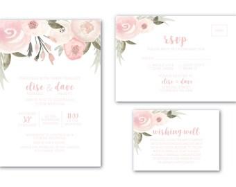 Printable Wedding Invitation | Customised | Wedding Invitation | Wedding Invitation Set | Blushing Bride Suite