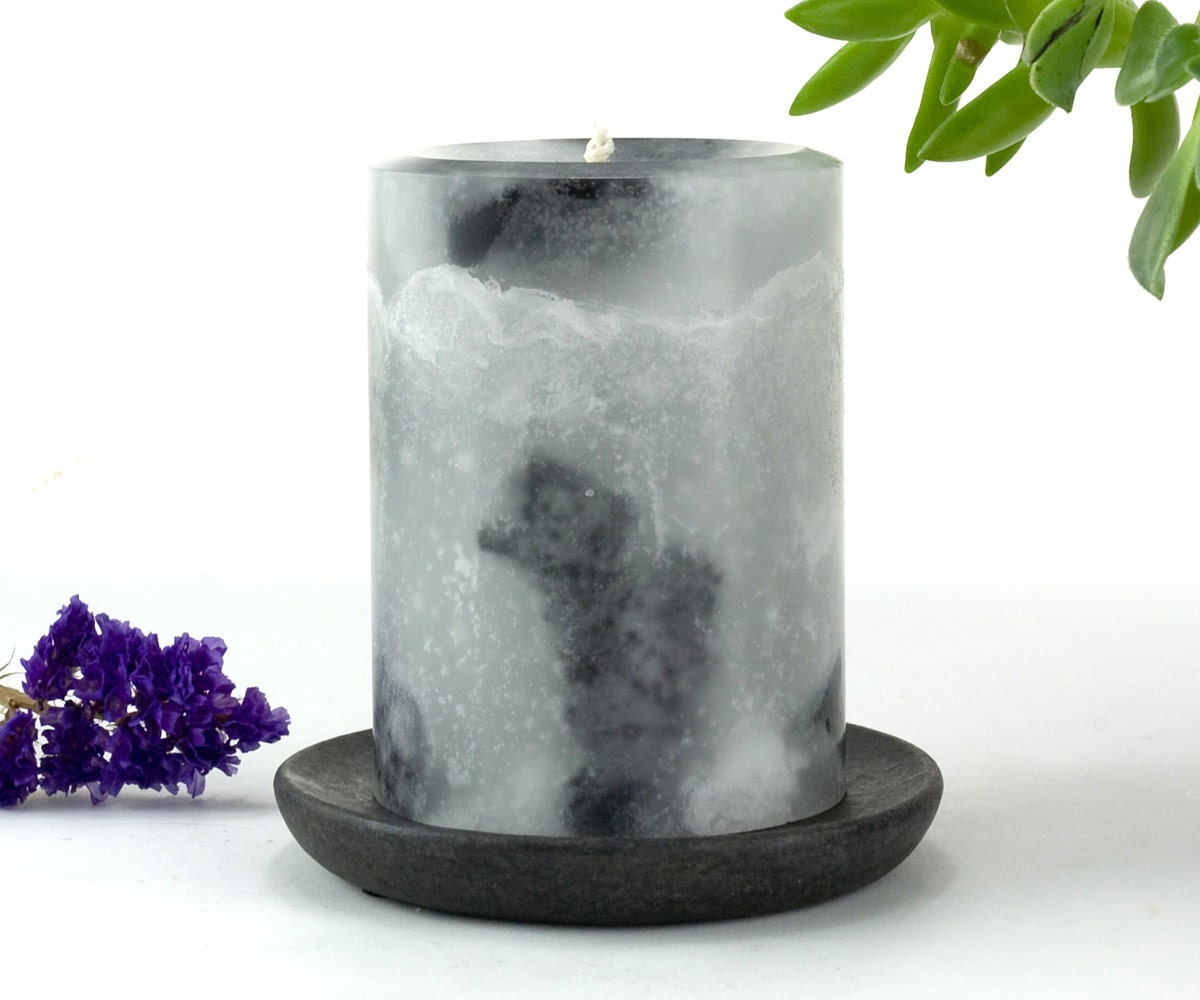 Gray and Black Marble Pillar Candle Gray Candles Modern
