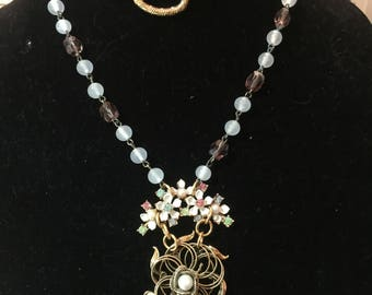 Repurposed vintage jewelry collage necklace