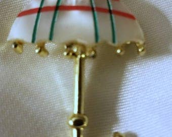 Mother of Pearl Umbrella Brooch