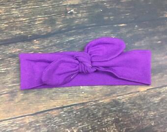 Purple Top Knot Headband